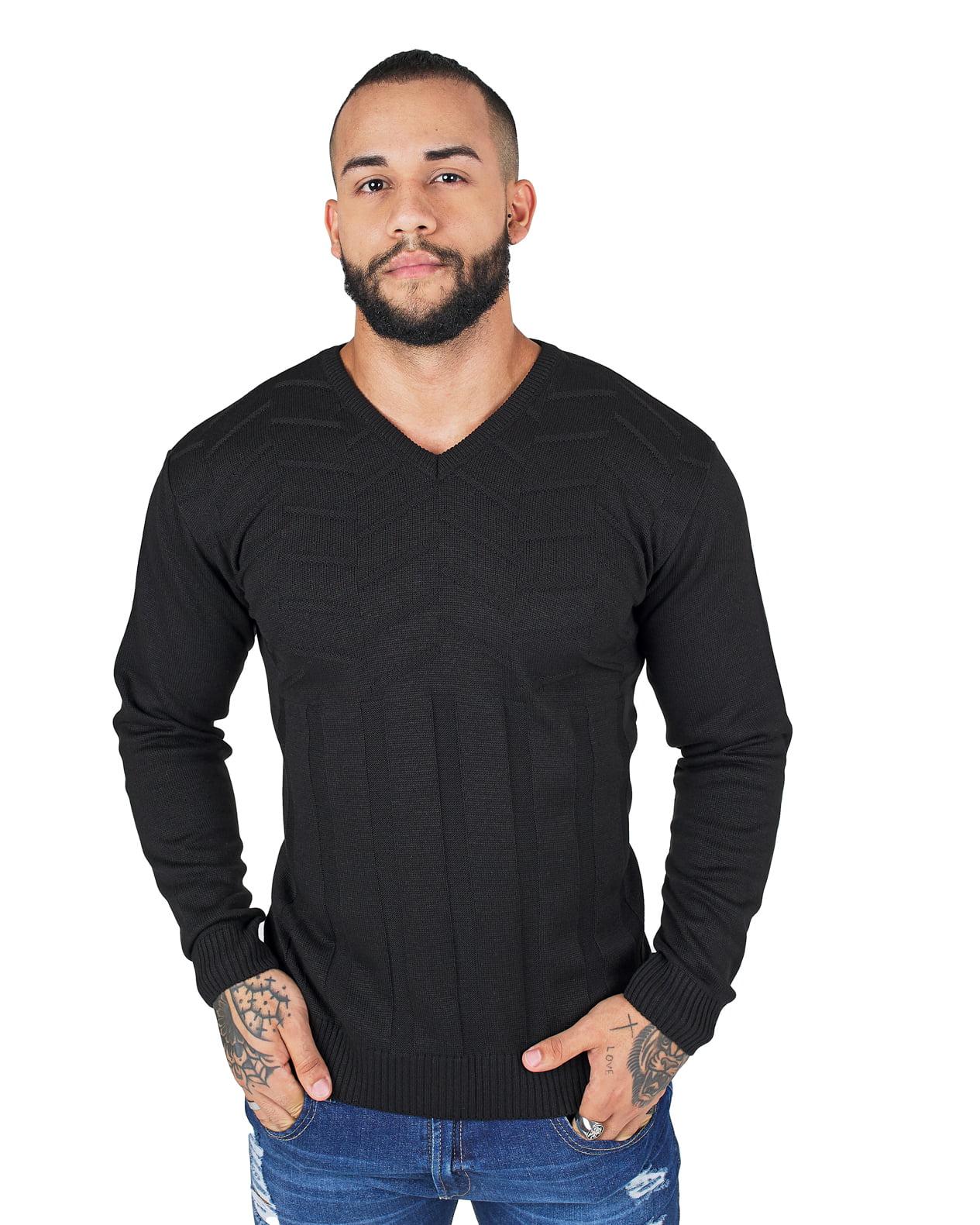 Suéter de tricot links canelado